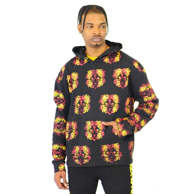 Mens Black and Gold Pullover Hoodie Sweater