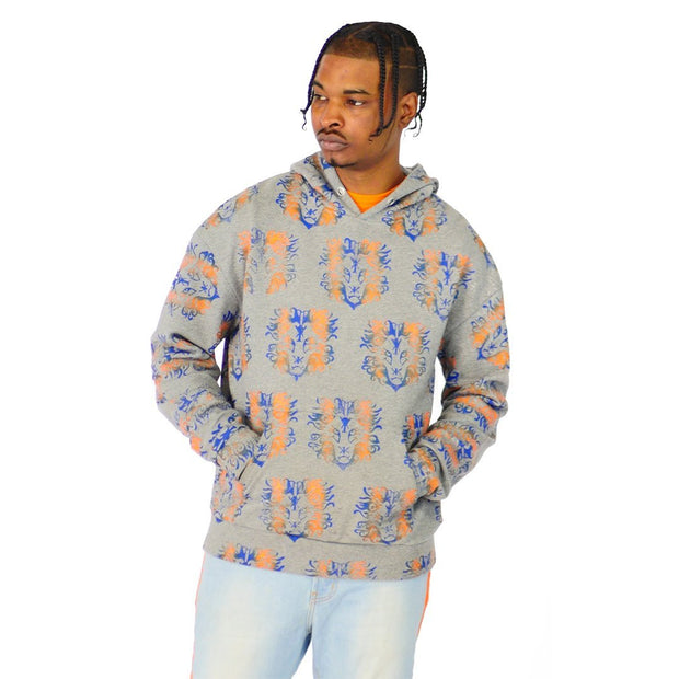 Mens Gray and Orange Pullover Hoodie Sweater