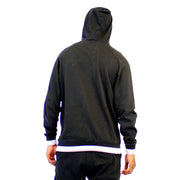 Mens Pullover Black Hoodie Sweater with Badge