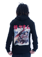 Mens Yekim Hoodies Samurai Print Black
