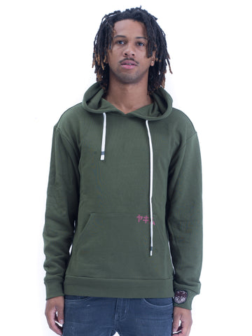 Mens Yekim Hoodies Samurai Print Green