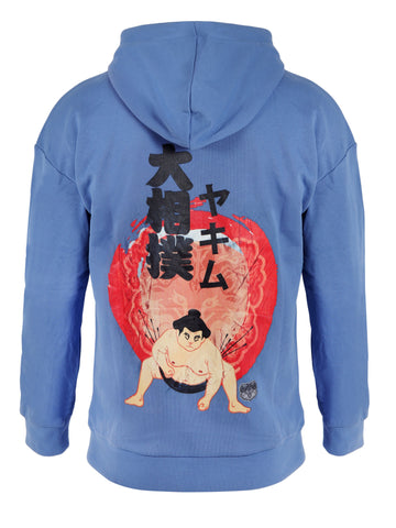 Mens Patched Sumo Hoodies Blue