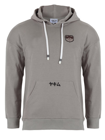 Mens Patched Sumo Hoodies Gray