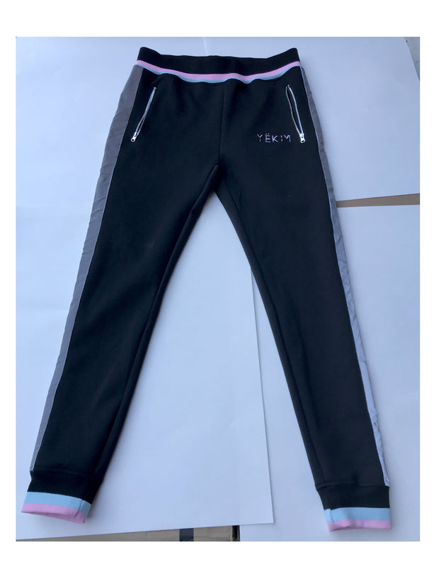 Black Joggers with Purple Lining