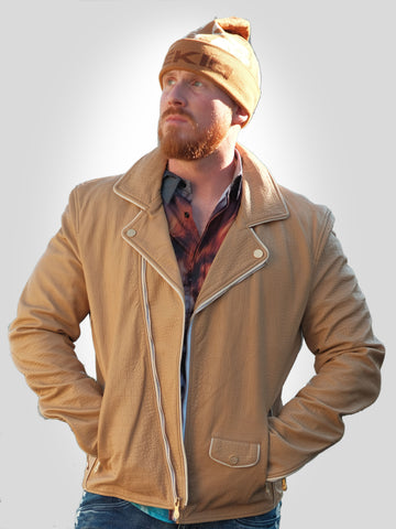 Mens Biker Gator Embossed Brown Jacket