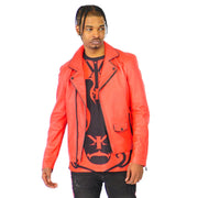 Mens Biker Gator Embossed Red Jacket