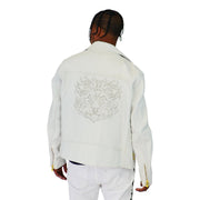 Mens Biker Gator Embossed White Jacket