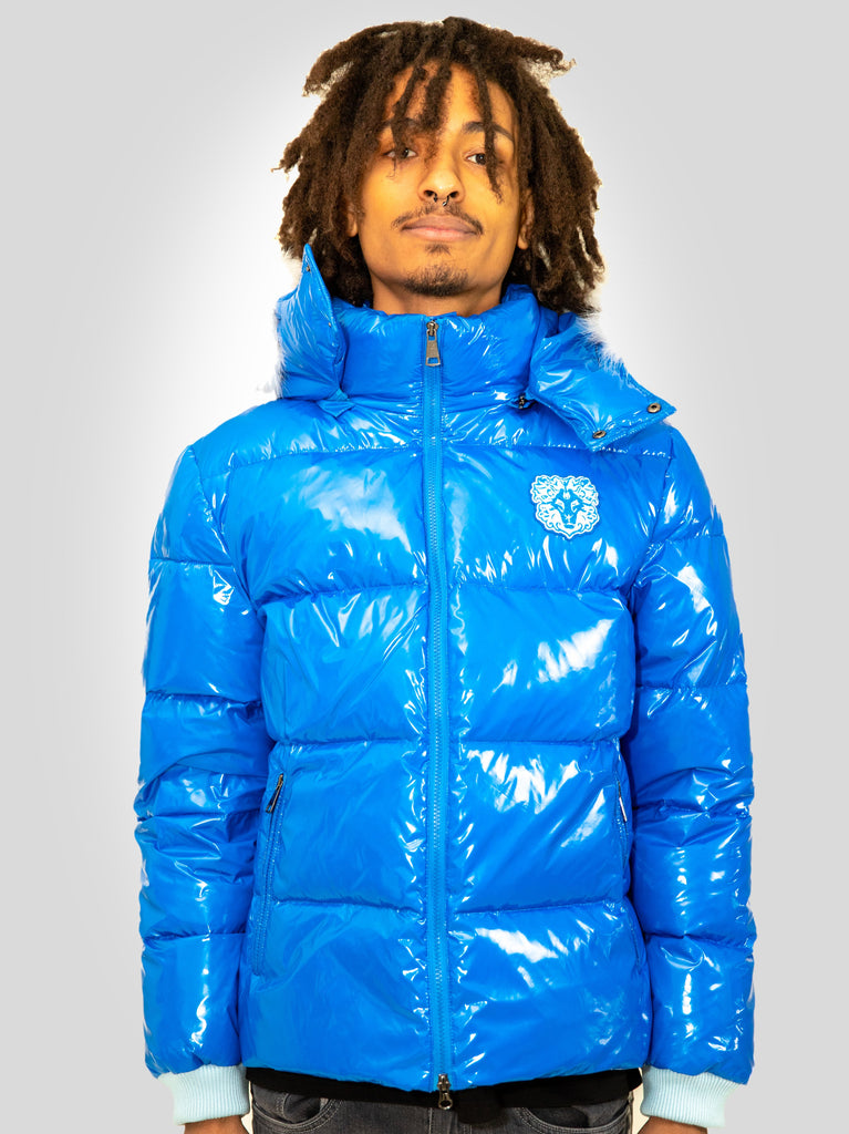 Men Puffer Jacket Hooded with fox fur Blue