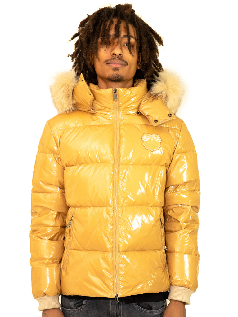 Men Puffer Jacket Hooded with fox fur Mustard