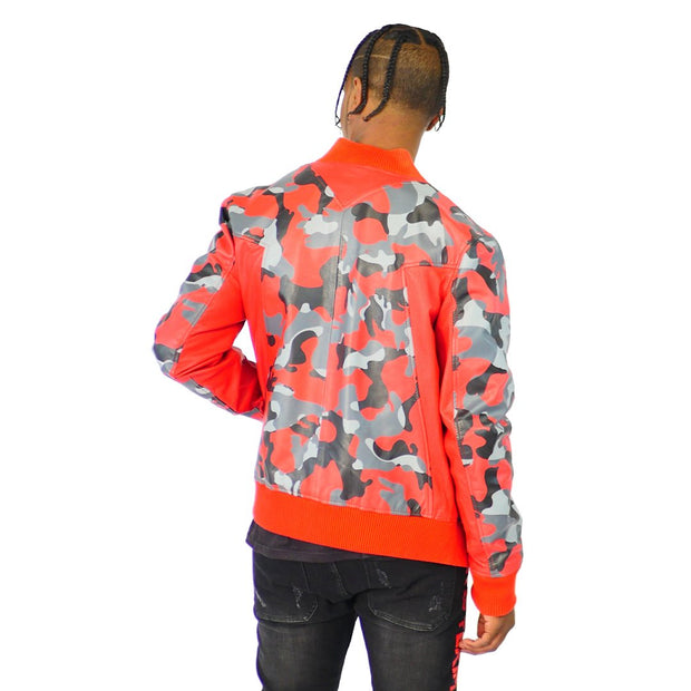 Mens Motto Leather Jacket Red Camouflage
