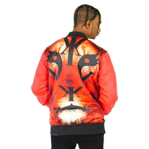 Mens Leather Bomber Signature Lion Logo
