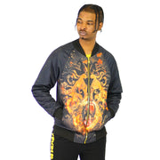 Mens Silk Lion Front Bomber Black Jacket