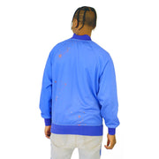 Mens Silk Lion Front Bomber Blue Jacket