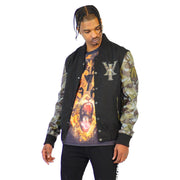 Mens Black Varsity Wool Leather Camo Sleeve