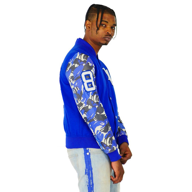 Mens Blue Varsity Wool Leather Camo Sleeve