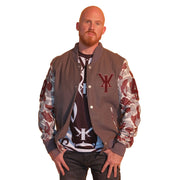 Mens Gray Varsity Wool Leather Camo Sleeve