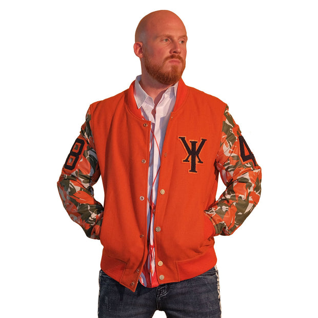 Mens Orange Varsity Wool Leather Camo Sleeve