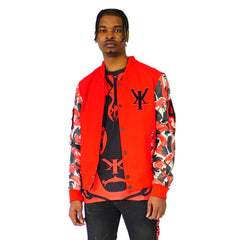 Mens Red Varsity Wool Leather Camo Sleeve