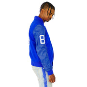 Mens Blue Varsity Leather Gator Embossed Sleeve Jacket