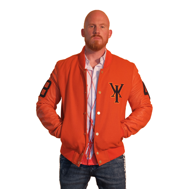 Mens Orange Varsity Leather Gator Embossed Sleeve Jacket