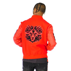 Mens Red Varsity Leather Gator Embossed Sleeve Jacket