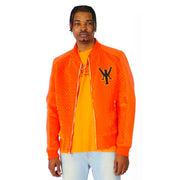 Mens Varsity Velvet Quilted Leather Sleeve Orange Jacket