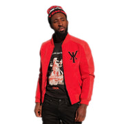 Mens Varsity Velvet Quilted Leather Sleeve Red Jacket