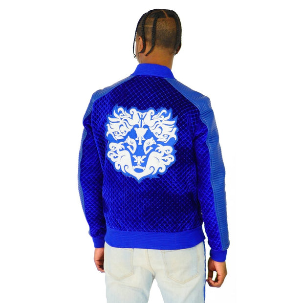 Mens Varsity Velvet Quilted Leather Sleeve Blue Jacket