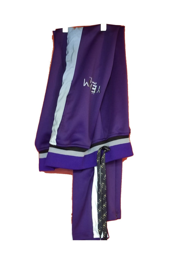 Mens Purple Track Pant With Reflector side Band