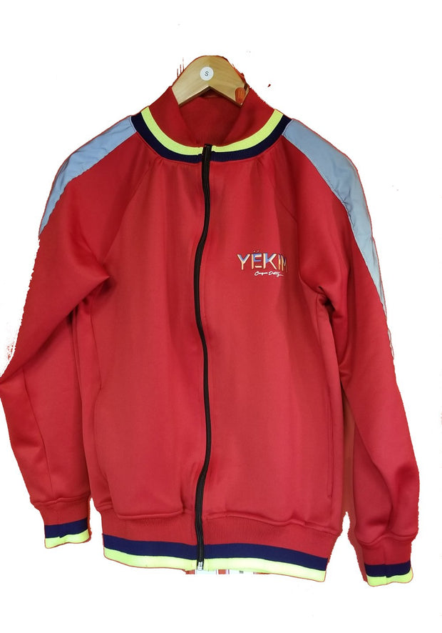 Mens Red Track Jacket With Reflector side Band