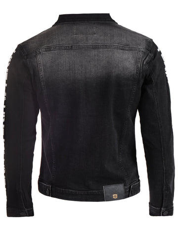 Mens Yekim Denim Jacket Dark Black with White Yekim Side Lining