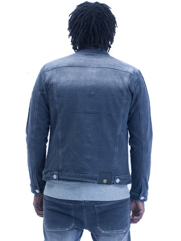 Mens Yekim Denim Jacket Indigo Grey with Black Yekim Side Lining