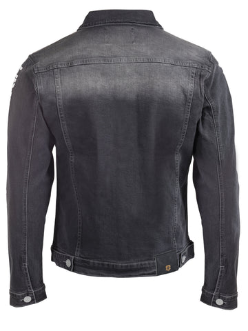 Mens Yekim Denim Jacket Indigo Grey with White Yekim Side Lining
