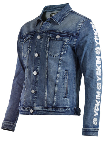 Mens Yekim Denim Jacket Light Blue with White Yekim Side Lining