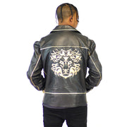 Mens Motto Biker Leather Black Gold Leather Jacket