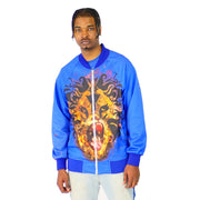 Mens Satin Blue with Lion Print