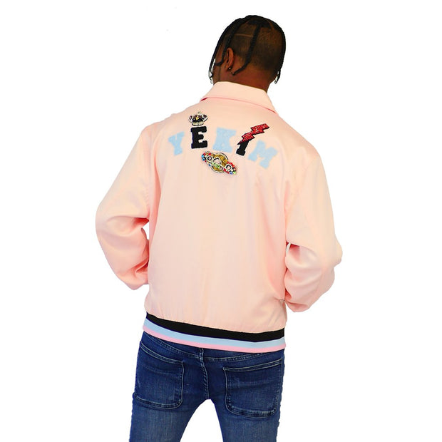 Mens Satin With Jewelry Bomber Pink Jacket