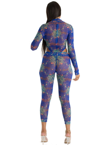 Sexy Printed Thong Bodysuit with matching Legging Set Orange / Royal Blue