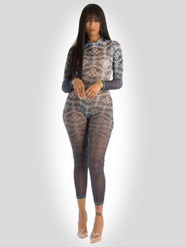 Sexy Printed Mesh Full Length Bodysuit with Back Zip Closure Black