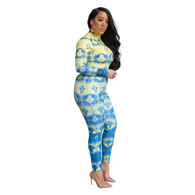 Womens Bodysuit Blue and Yellow
