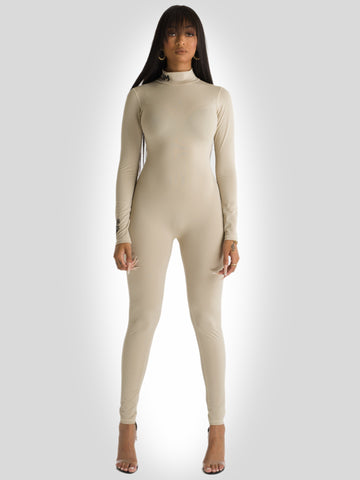 Scuba One Piece Full Length Bodysuit Beige