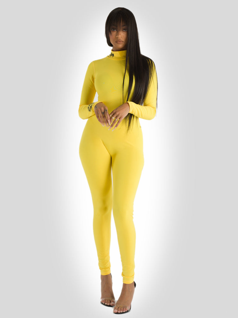 Scuba One Piece Full Length Body Suite Yellow