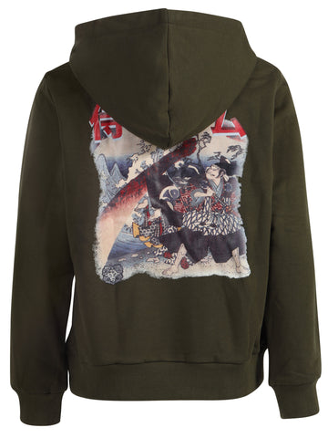 Kids Yekim Hoodies Samurai Print Green