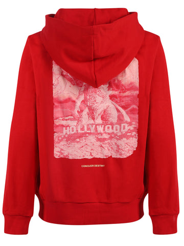 Kids Pullover Hoodies Godzilla Print Red