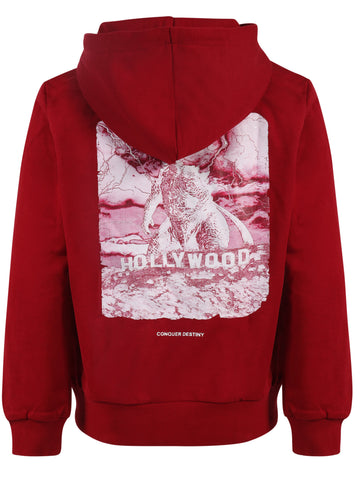 Kids Pullover Hoodies Godzilla Wine Red