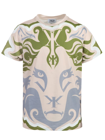 Boys Big Lion Face Yekim Shirt Olive Peach Gray
