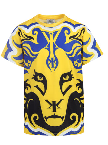 Boys Big Lion Face Yekim Shirt Yellow Blue Black
