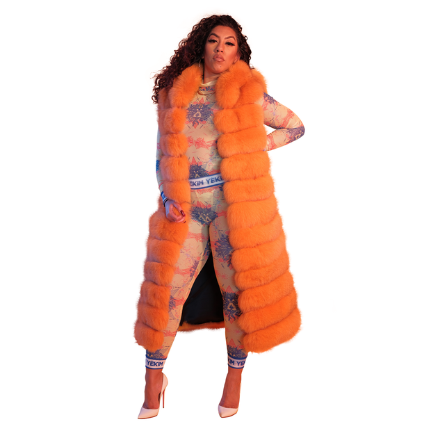 Copy of Womens Long Puff Jacket Orange