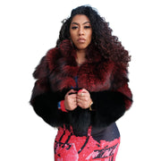Womens Puff Jacket Burgundy