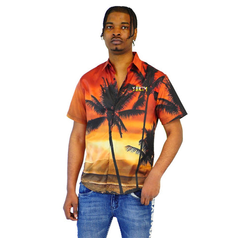 Mens Palmtree Print Short Sleeve Dress Shirt Brown